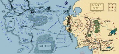 """008 Map of Middle Earth Lord Of The Rings - Hobbit Movie 52""""x24"""" Poster"""