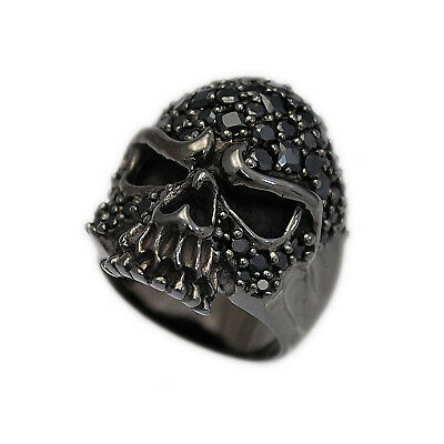 PAVE BLACK CZ SKULL RHODIUM PLATED 925 STERLING SILVER BIKER ROCKER RING hi-r07