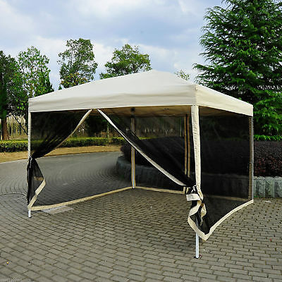 Outsunny 10x10 ft Pop Up Party Tent Wedding Gazebo Canopy w/ Carry Bag Tan