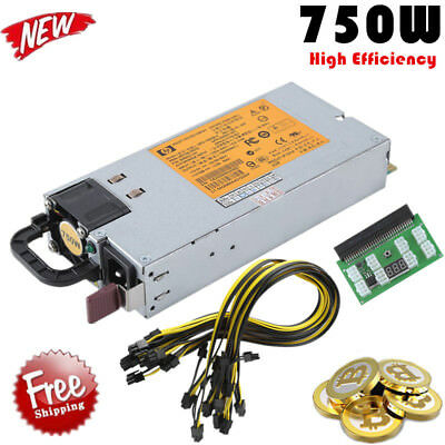 750W Power Supply Kit for 6 - 8 pin GPU Open Rig Mining Ethereum 100V-240V New