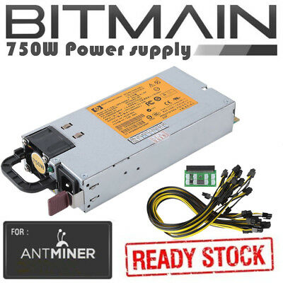 750W Power Supply PSU + 6 PCI-E 16AWG 94% Platinum Kit for Antminer S3 S1 S5 TB