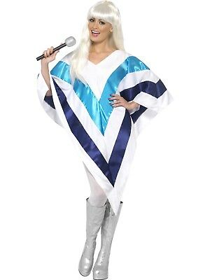 Costume Womens Ladies Abba 60's 70's Dancing Queen Disco  Super Trooper Poncho