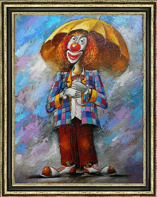Hand-painted Original Oil painting art abstract decoration clown On Canvas