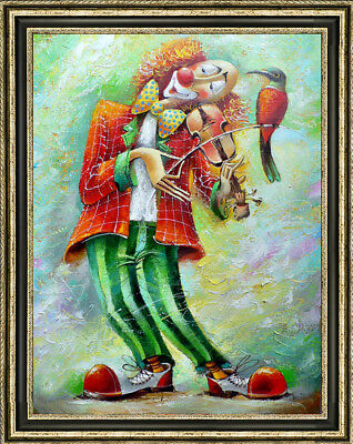 Hand-painted Original Oil painting art abstract clown Play On Canvas 24X36""