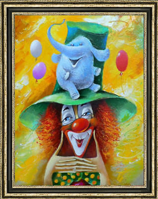 """Hand-painted Original Oil painting art abstract clown On Canvas 24X36"""""""