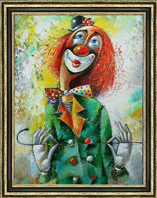 Hand-painted Original Oil painting art abstract decoration clown On Canvas 24X36