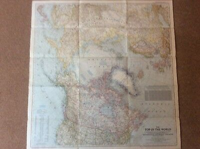 """Huge Vintage Fold Out National Geographic Wall Map Top of the World 1949 28x29"""""""