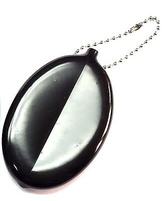 A black color soft rubber squeeze Coin Holder keychain money change PARTY FAVOR
