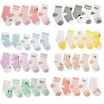 5 pcs Ankle Socks Baby Boy Girl Animal Cartoon Children Socks Toddler Kids Soft