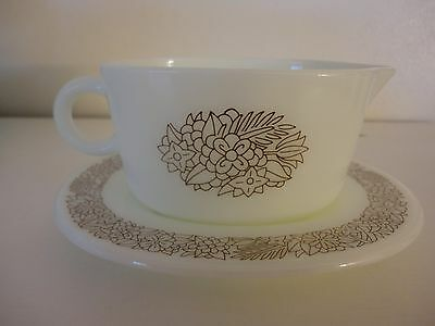 Vintage Pyrex Woodland Gravy Boat and Underplate Corelle Corning ware