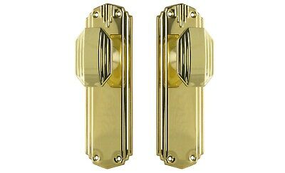 "DOOR KNOBS-""ST KILDA""-POLISHED BRASS-HERITAGE-ART deco style VINTAGE HANDLE PAIR"