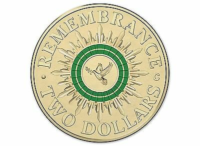 $2 two dollar coin 2014 - ANZAC Remembrance Peace - GREEN - CIRCULATED