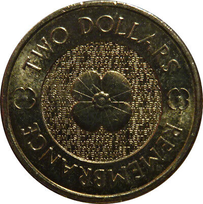 $2 two dollar coin 2012 - POPPY - ANZAC Remembrance - circulated