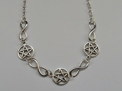 Pentagram And Infinity Symbol Necklace Pagan Wiccan Pentacle