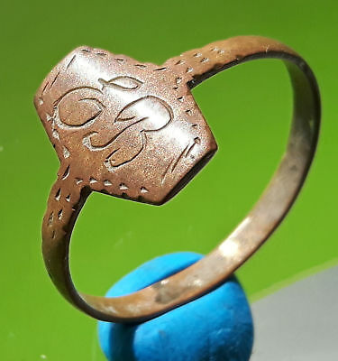 Medieval Bronze Ring With Initials !!