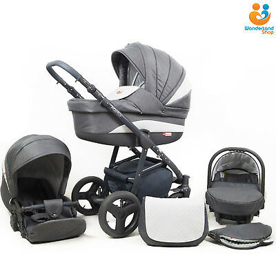 Baby Pram Stroller Pushchair 3in1 Car Seat Carrycot Travel System Buggy HANDMUFF