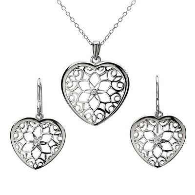 Hot Diamonds Levanter Heart Pendant Necklace & Earrings Set Hss096*special Offer