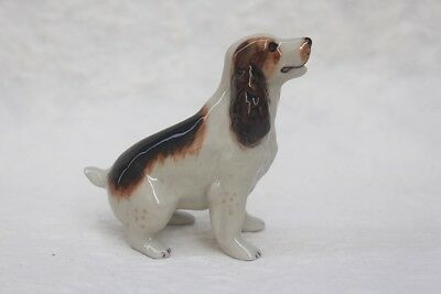 Figurine Animal Dog Springer Spaniel Ceramic Miniature Handmade Collectible Gift