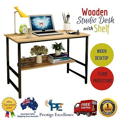 Wooden Studio Desk Home Office Computer Laptop Student Work Study Table W Shelf