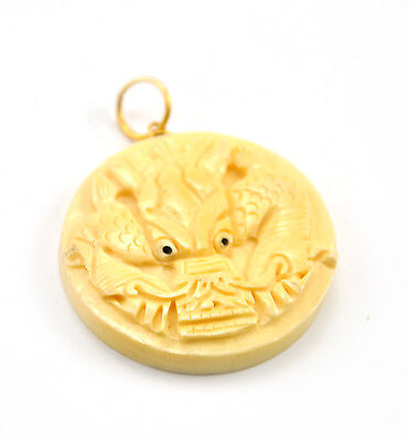 Vintage Oriental Bone Carved Bead Hand Carve Charm Pendent Dragon disc Zodiac