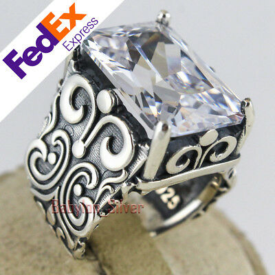 Turkish Handmade Ottoman 925 Sterling Silver CZ Faceted Men's Ring All Sizes