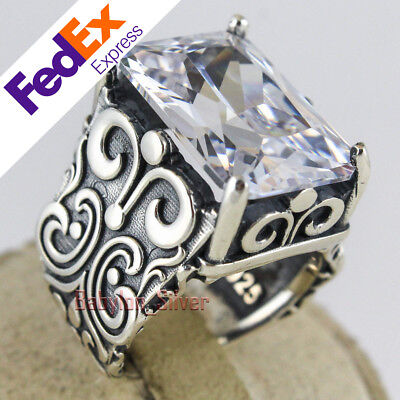 Turkish Handmade Ottoman 925 Sterling Silver Jewelry CZ Faceted Men Luxury Ring