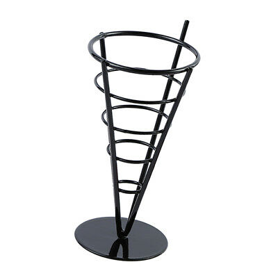 Creative Home French Fry Holder Single Cone Holder Chips Snacks Stand Black