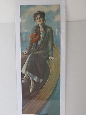 Antique 1912 Walk Over Shoe Girl  Print  Pretty Lady in a Boat