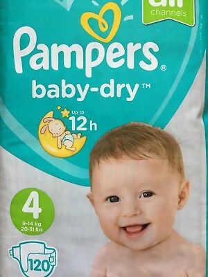 Pampers Baby-Dry Nappies Size 4, 120 Giga Pack, 9-14KG Sensitive Protect