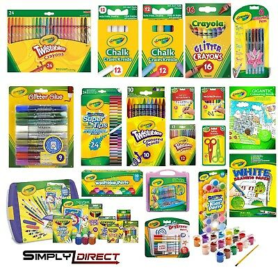 Crayola Chalk, Supertips, Crayons, Pencils, Markers, Twistables, Glitter Pens