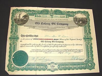 1918 Old Colony Oil Company Billings Montana Stock Certificate Vintage
