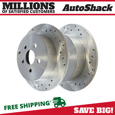 Rear Pair (2) Silver Drilled Slotted Rotors 5 Stud Fits 2005-2006 Toyota Corolla