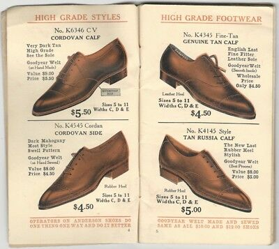 1918 Anderson Shoe Direct to the Public Men's Women's Childrens Footwear Catalog