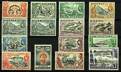 GB COLONIES NIGERIA 1953/8 KGVI SG: 69/80 both No.72, extra 73, MVLH ..