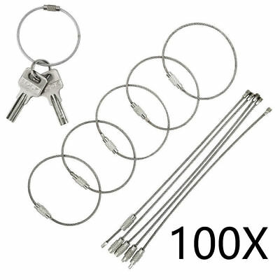 """Wholesale 100PCS 6"""" Long Stainless Steel Wire Keychain Cable Key Ring Chains US"""