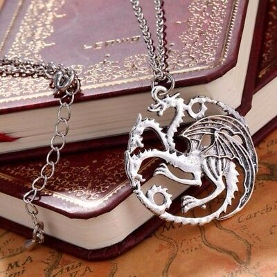 Classic Vintage Ice And Fire Game Of Thrones Daenerys Targaryen Dragon Necklace
