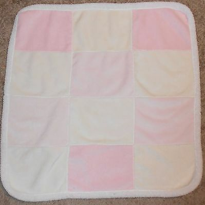 Kyle & Deena Baby Blanket Pink Cream Squares White Sherpa Patchwork Style