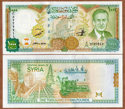 SYRIEN SYRIA 1000 Syrian Pounds 1997  UNC