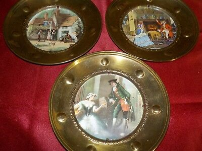 "antique 3 brass picture frames/with pictures and glass/ made in england 6""d"