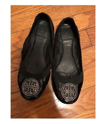 9dc7078dabec sz 6.5 Tory Burch Caroline Black Patent Leather Elastic Trim Ballerina Flat  Shoe