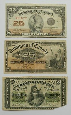 """** Dominion Of Canada ** Lot Of Three 1923-1900- 1870 """""""" 25 Cents Paper Money**"""