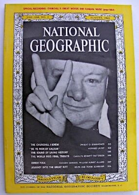 NATIONAL GEOGRAPHIC Aug 1965Winston Churchill Funeral Dwight Eisenhower Amish