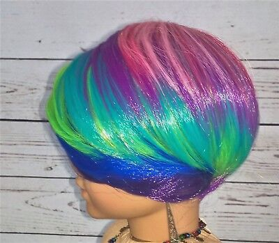 """10-11 Custom Doll Wig fit Blythe-American Girl-1/4 Size Doll """"Psychedelic"""" bn1"""