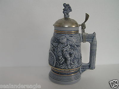 Avon 1991 Conquest Of Space Stein Ceramic Genuine Pewter Lid Dated Numbered Nib