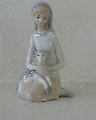 Girl With Lamb Sheep Figurine Lladro Style Not Marked