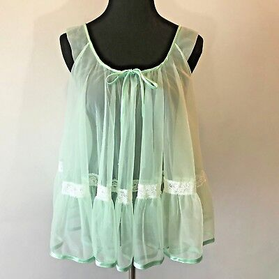 Vintage 1960s Tosca Green Sheer Double Chiffon Baby Doll Lingerie size S S9