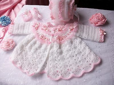 Free P&P,Baby crochet pattern, coat, bonnet + booties. Matinee set, Romany, Girl