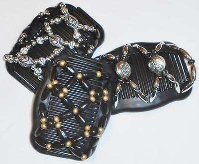 """Set of 3 Double Hair Combs, Angel Wings Clips 4x3.5"""", Silver, Gold, Black Design"""