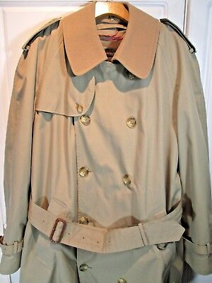 Brooks Brothers Cotton Blend Classic Double Breasted Trench Coat 42 LONG MINT!