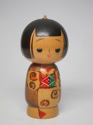 Vintage Kokeshi Wood Doll Traditional style Red Green Patches 4.5 inches